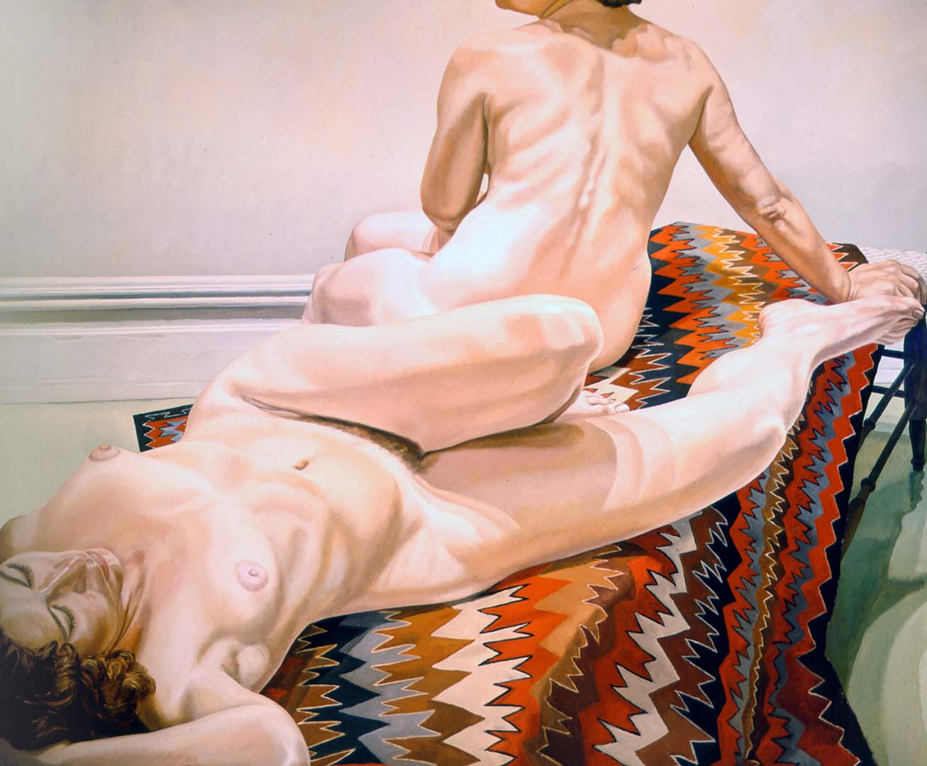 1971 Two Female Models on Navajo Rug Oil on Canvas 60 x 72