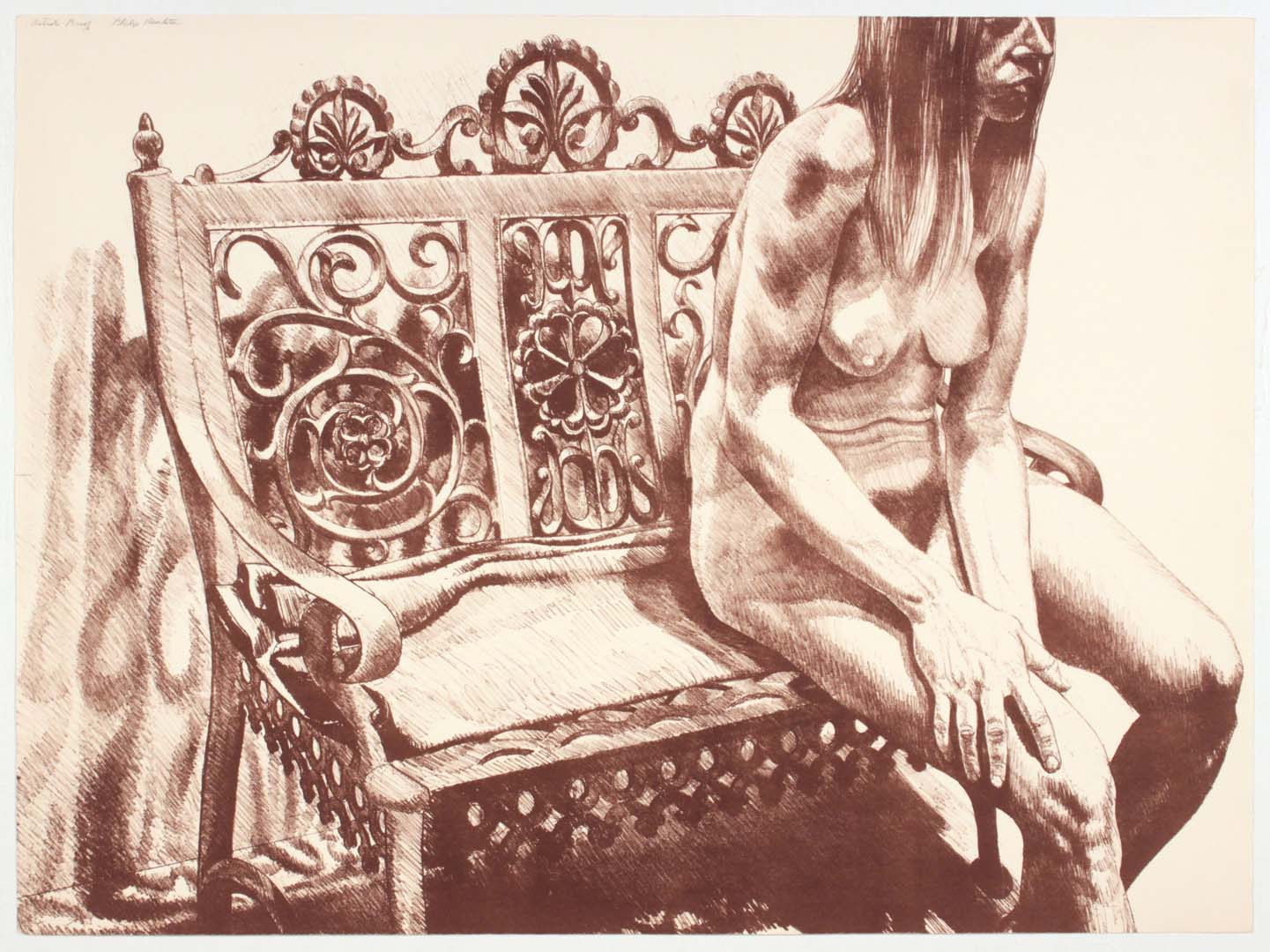 "1972 Girl on Iron Bench Lithograph on Paper 24"" x 32.25"""