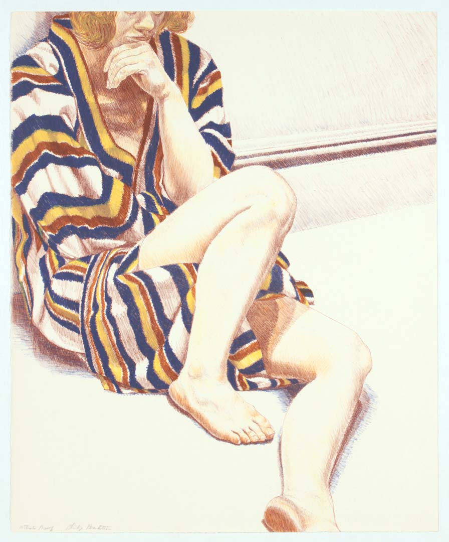 "1972 Girl on Striped Robe Lithograph on Paper 27"" x 22"""
