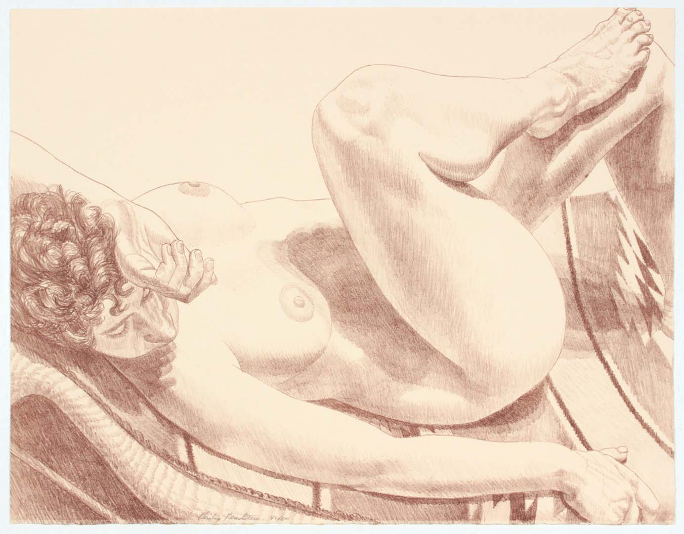 "1972 Nude Reclining on Her Back Lithograph on Paper 20"" x 25.75"""