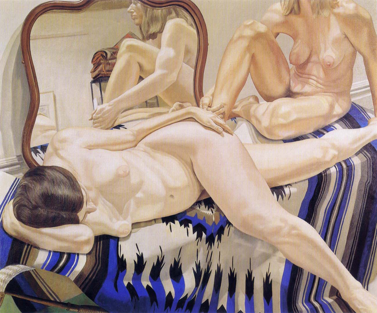 1972 Two Female Models on Mexican Blanket with Mirror Oil on Canvas 60 x 72