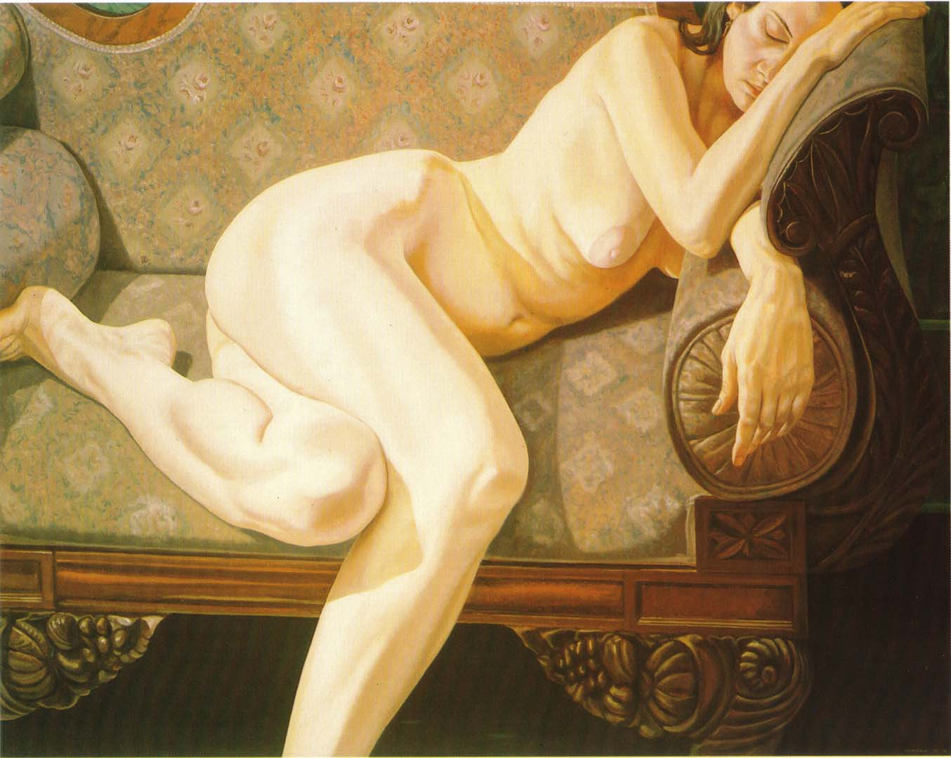 "1973 Female Model Reclining on Empire Sofa Oil on Canvas 48"" x 60"""