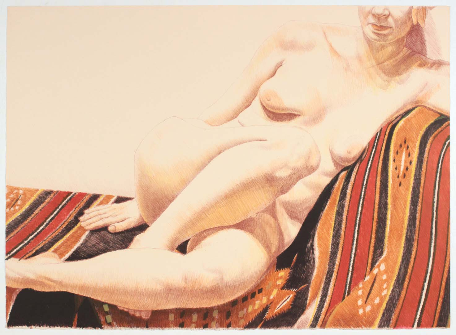 1973 Girl on Orange and Black Mexican Rug Lithograph on Paper 24.75 x 34