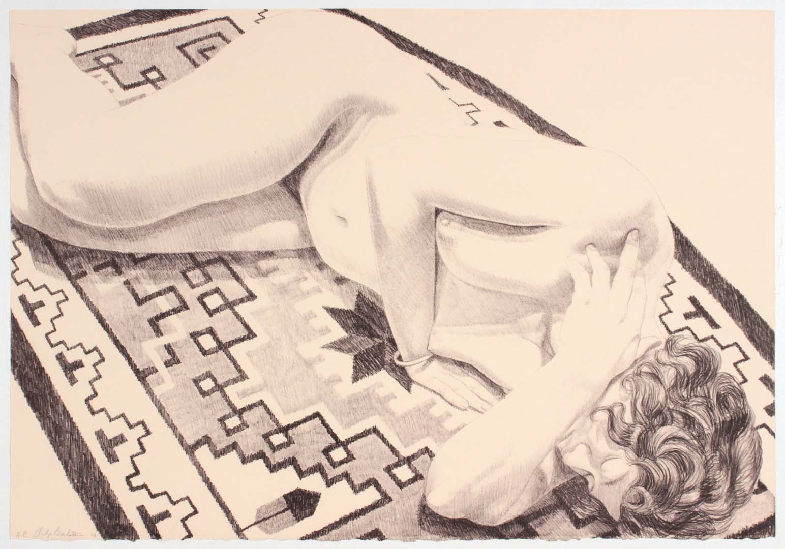 1973 Model on GreyPatterned Rug (B&W) Lithograph on Paper 22.5 x 32.5