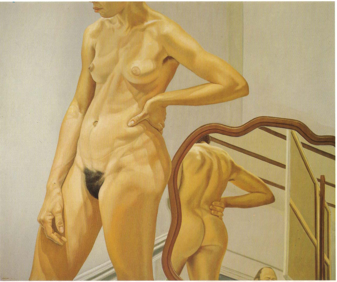 "1973 Standing Female Nude with Mirror Oil on Canvas 60"" x 72"""