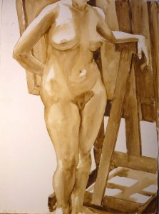 """1973 Standing Nude with Easel Sepia 30.375"""" x 22.5"""""""