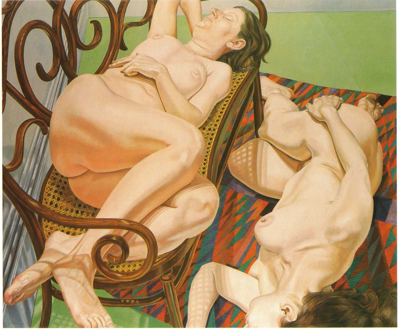"1975 Two Female Models on Bentwood Love Seat and Rug Oil on Canvas 60"" x 72"""
