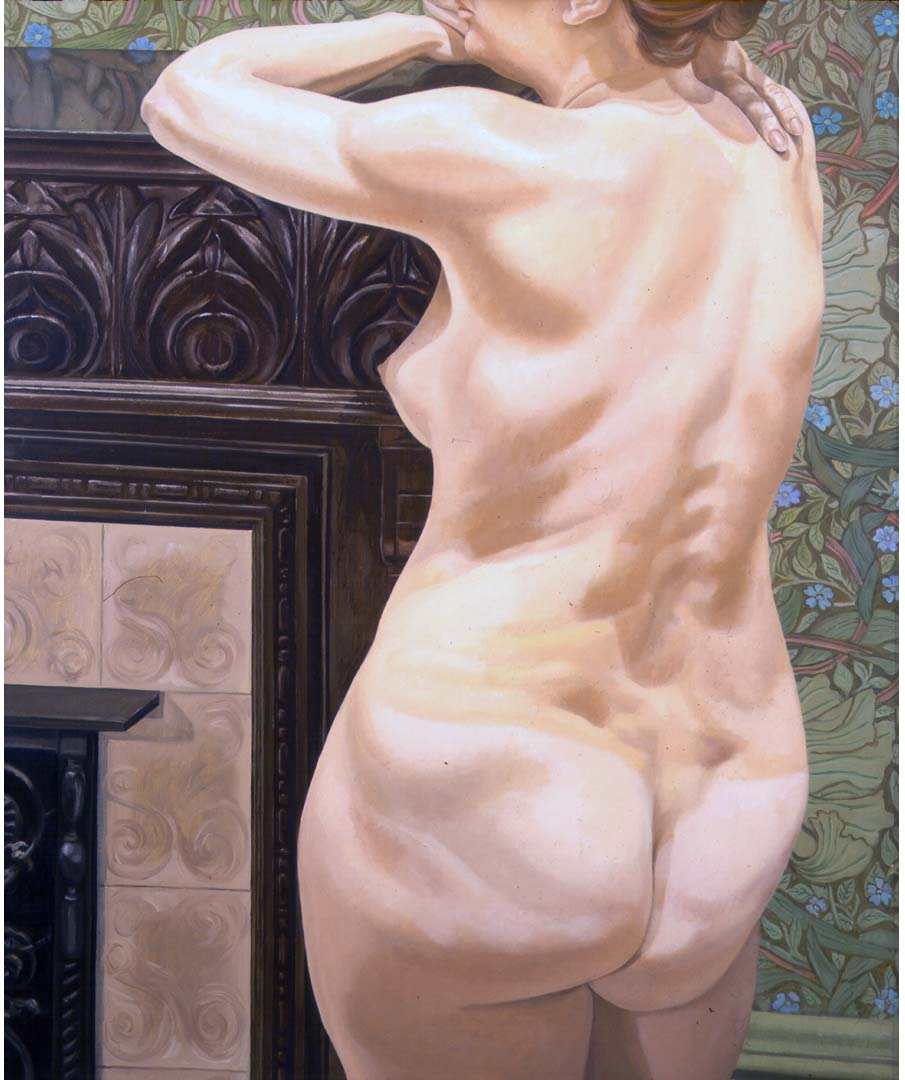 "1974 Female Model Leaning on Mantel Oil on Canvas 48"" x 40"""