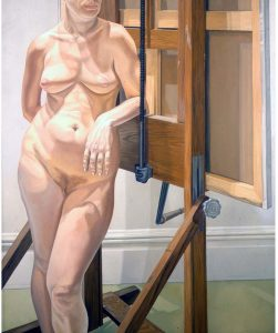 """1974 Female Model Standing by Easel Oil on Canvas 72"""" x 60"""""""