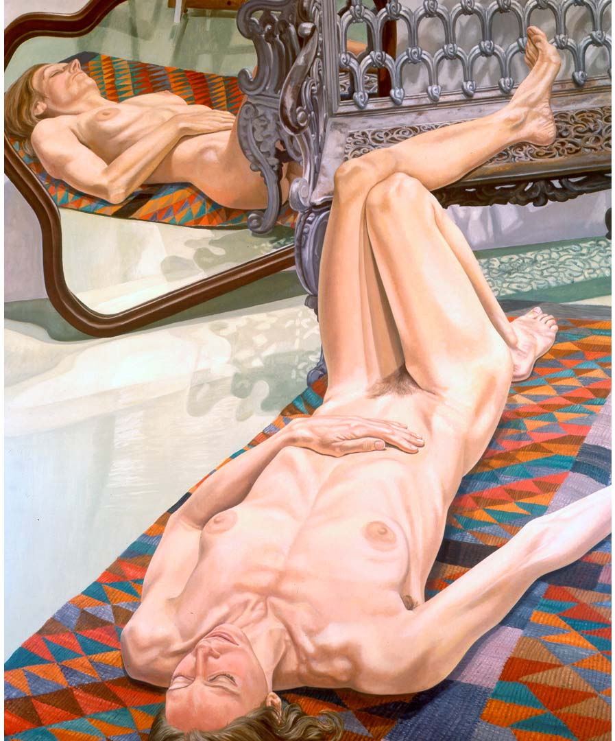 "1974 Female Model on Rug with Bench and Mirror Oil on Canvas 72"" x 60"""