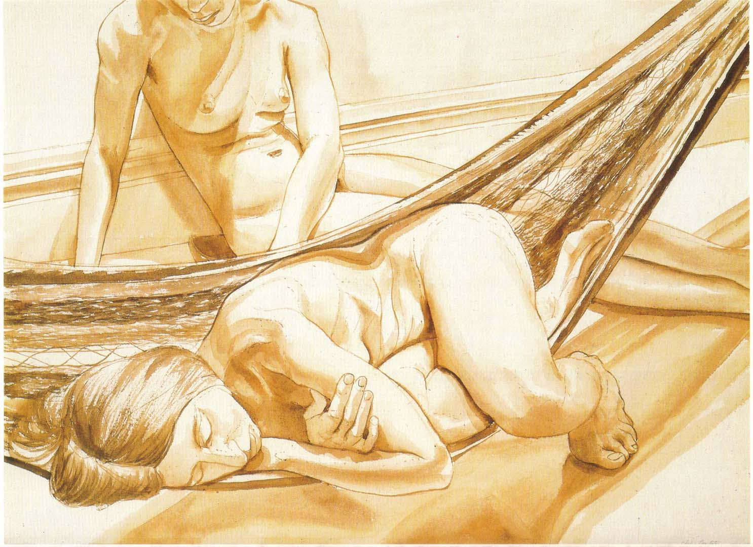 "1974 Two Female Models on Hammock and Floor Sepia Wash on Paper 22.5"" x 30.25"""