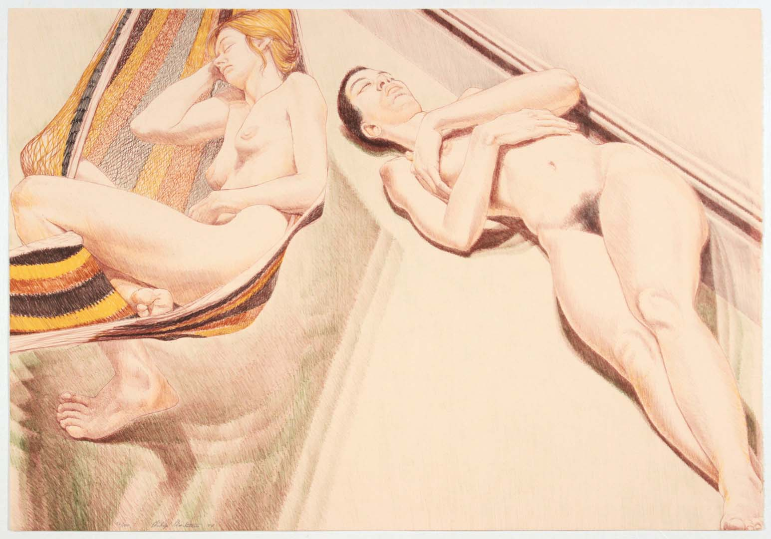 "1974 Two Nudes with Hammock Lithograph on Paper 24.875"" x 35.75"""