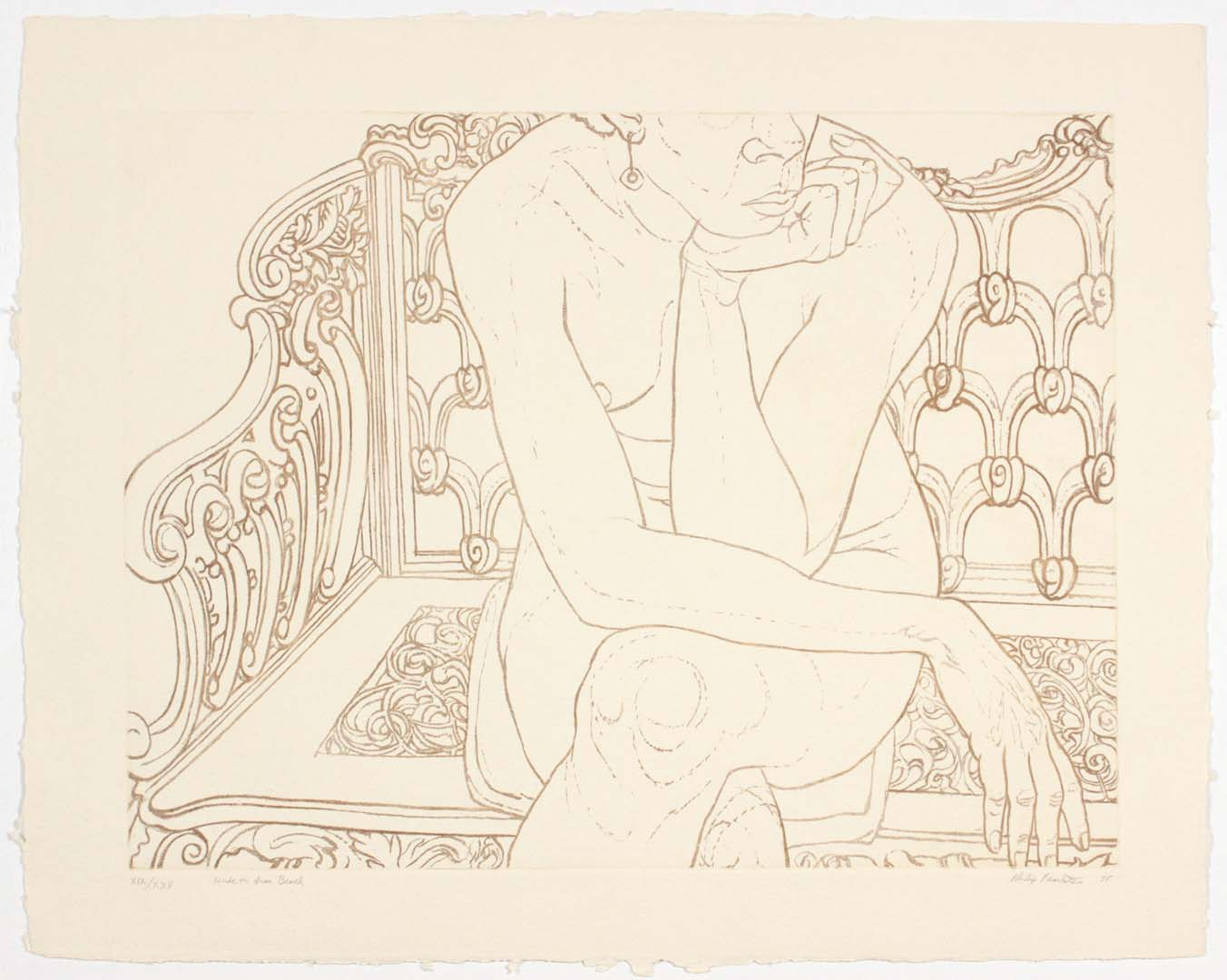 "1975 Nude on Iron Bench Aquatint Etching on Paper 22"" x 28"""