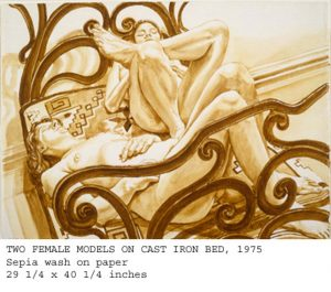 "1975 Two Female Models on Cast Iron Bed Sepia 29.25"" x 40.25"""