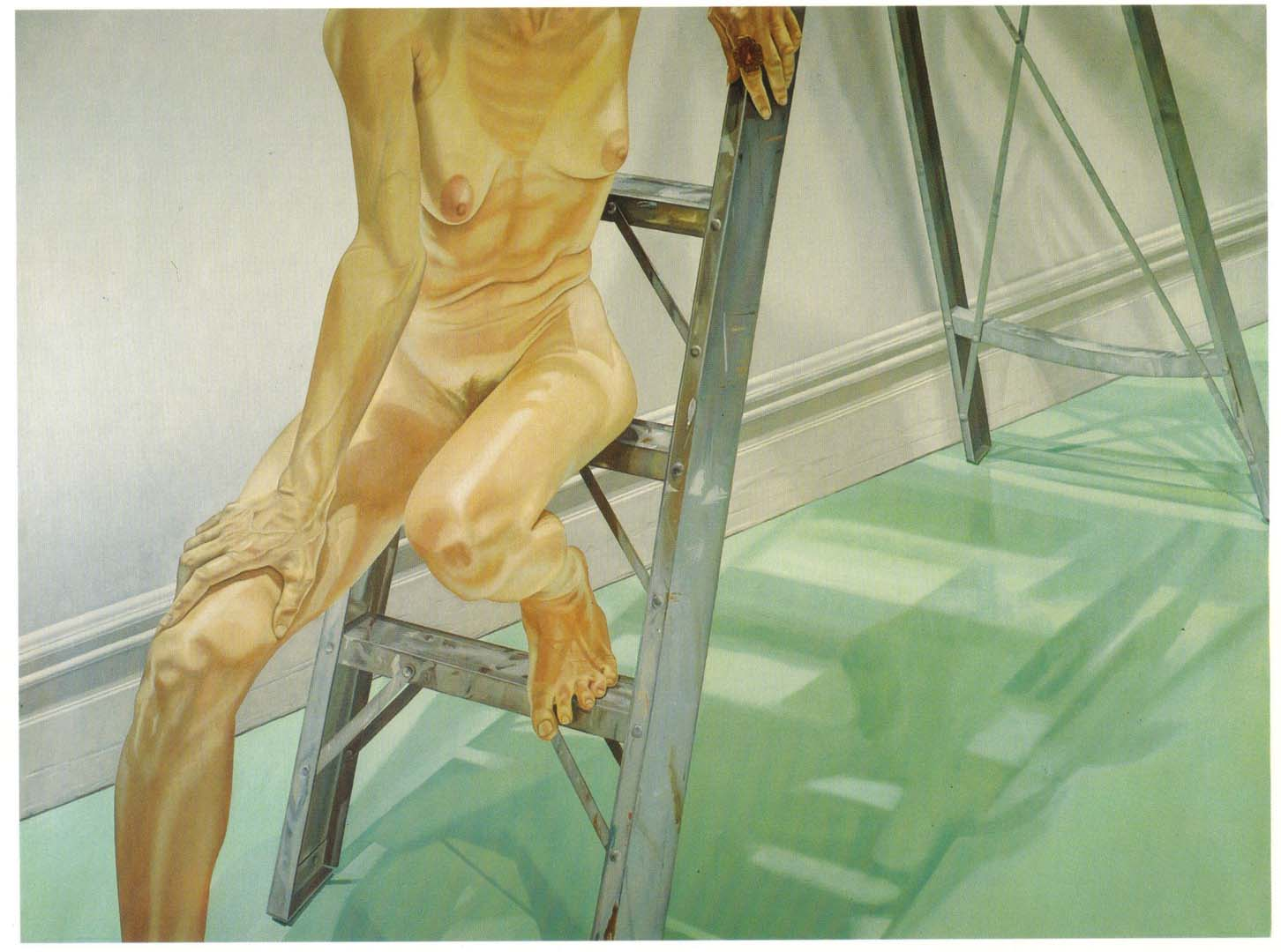 "1976 Female Model on Ladder Oil on Canvas 72"" x 96"""
