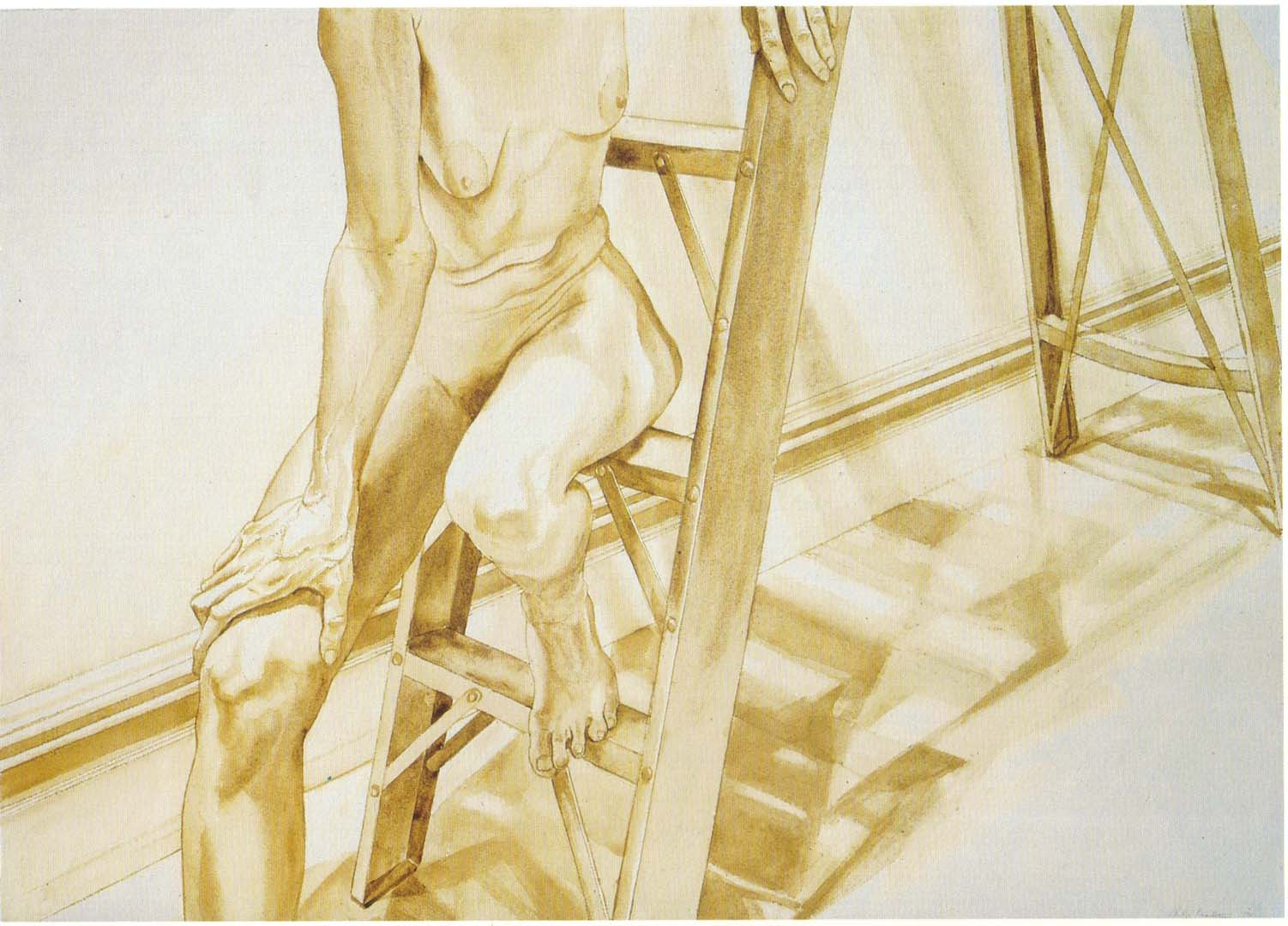 1976 Female Model on Ladder Sepia Wash on Paper 29.5 x 41
