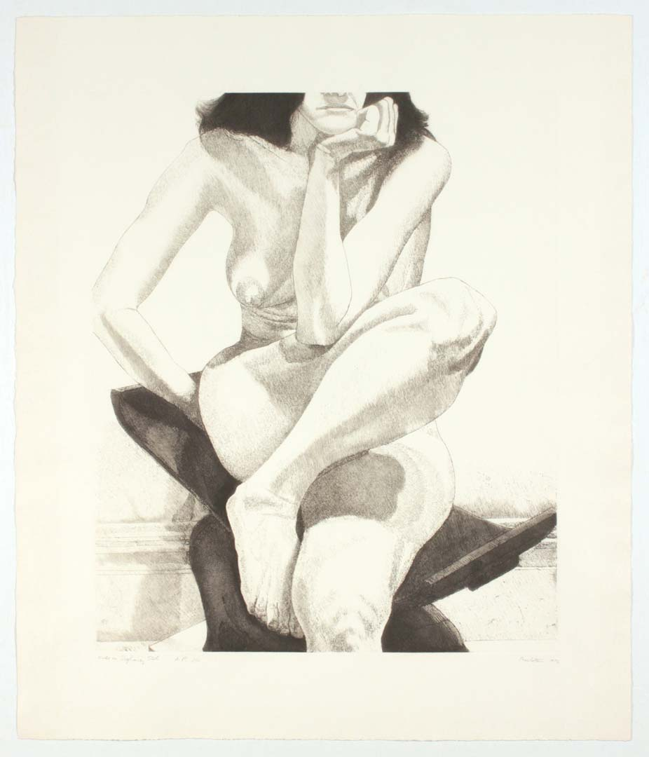 """1976 Nude on Dahomey Stool Aquatint Etching on Paper 30.75"""" x 26.25"""""""
