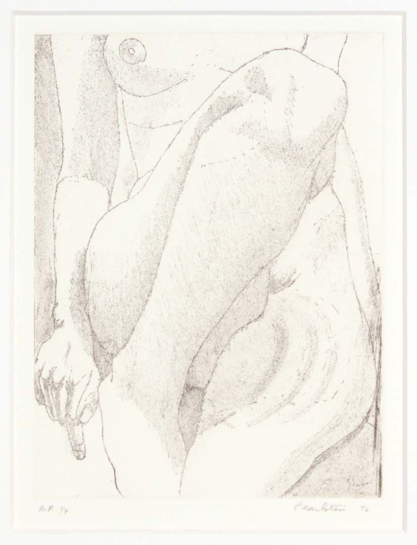 "1976 Small Nude Aquatint Etching on Paper 8"" x 6"""