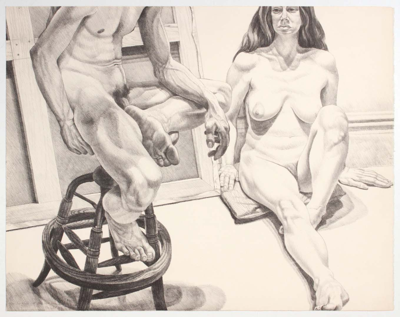 "1976 Two Nudes on Oak Stool and Canvas Lithograph on Paper 29.125"" x 37"""