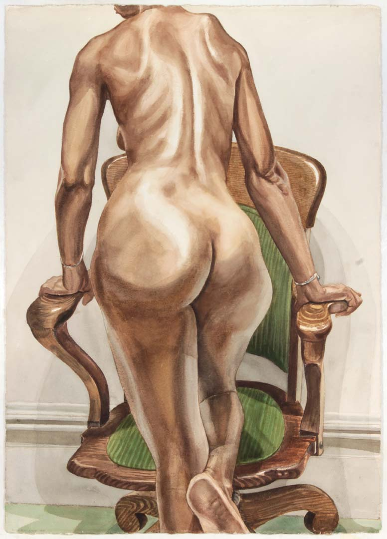 "1977 Back of Female Model with Swivel Chair Watercolor on Paper 41"" x 29"""