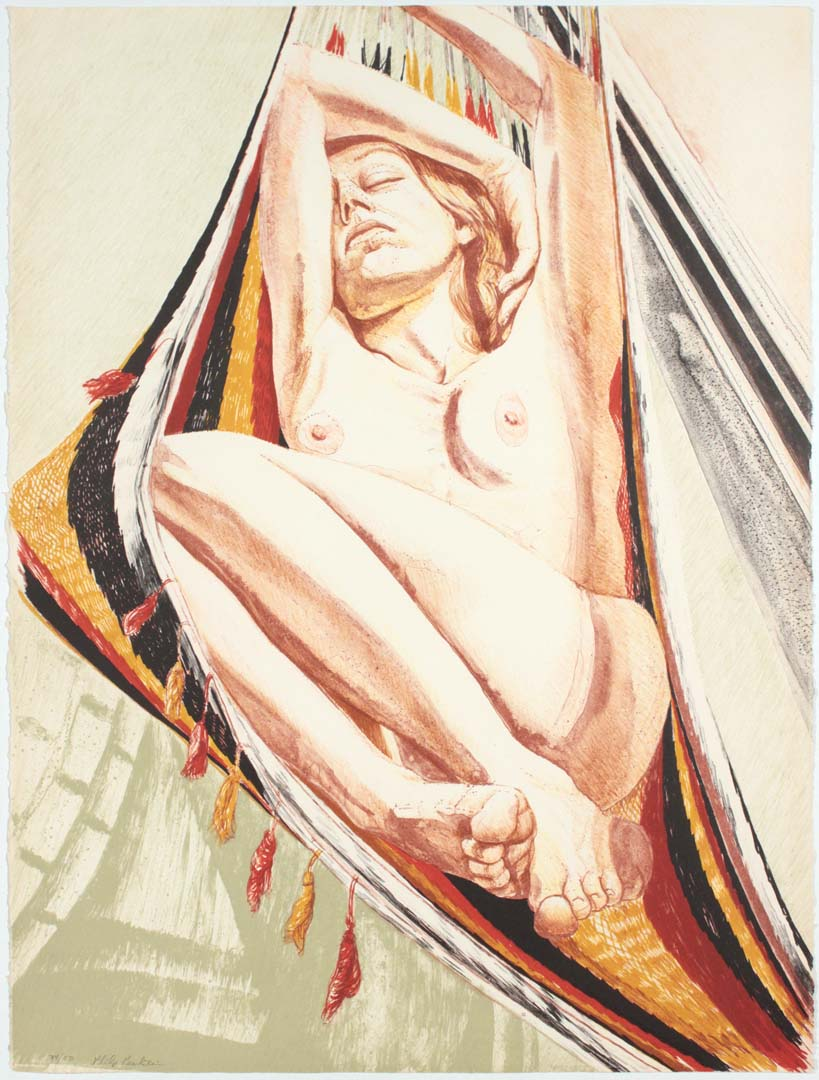 "1978 Girl on Hammock Lithograph on Paper 30"" x 22.5"""