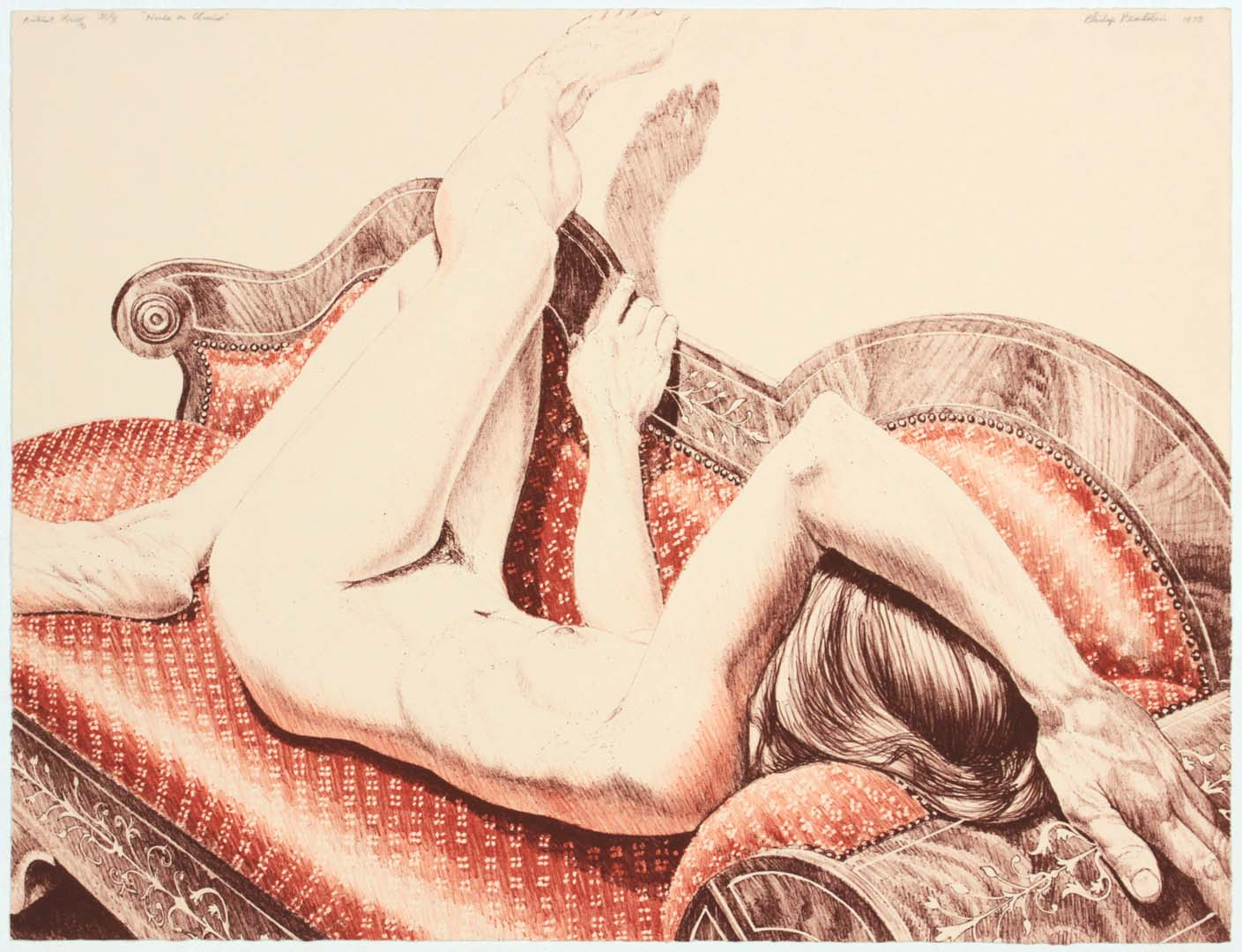 "1978 Nude on Chaise Lithograph on Paper 17.125"" x 22.125"""