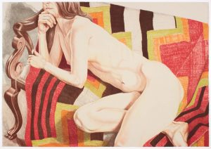 """1978 Nude on Chief's Blanket (Color) Lithograph on Paper 28"""" x 40"""""""