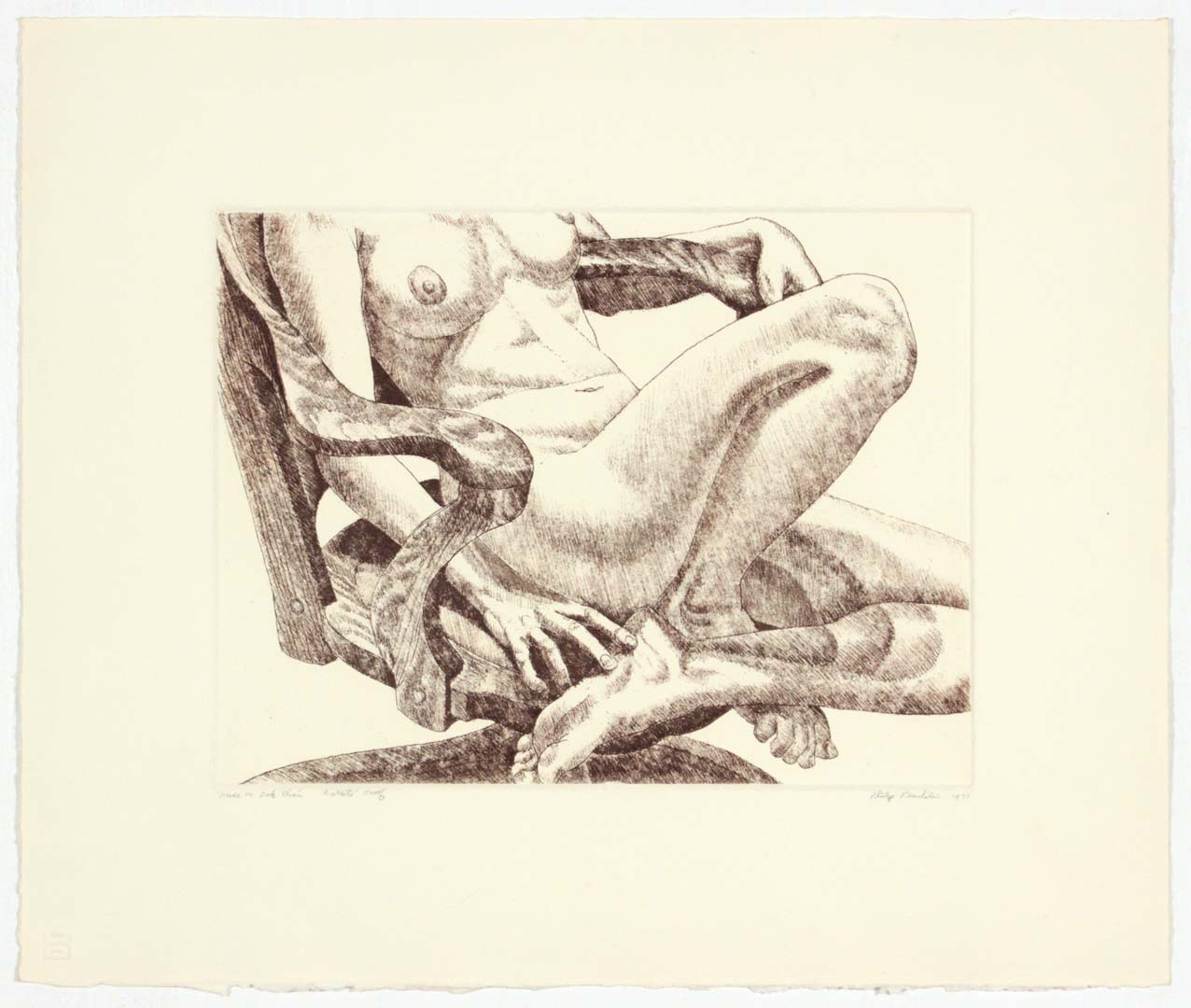 "1978 Nude on Oak Chair Aquatint Etching on Paper 15"" x 18"""