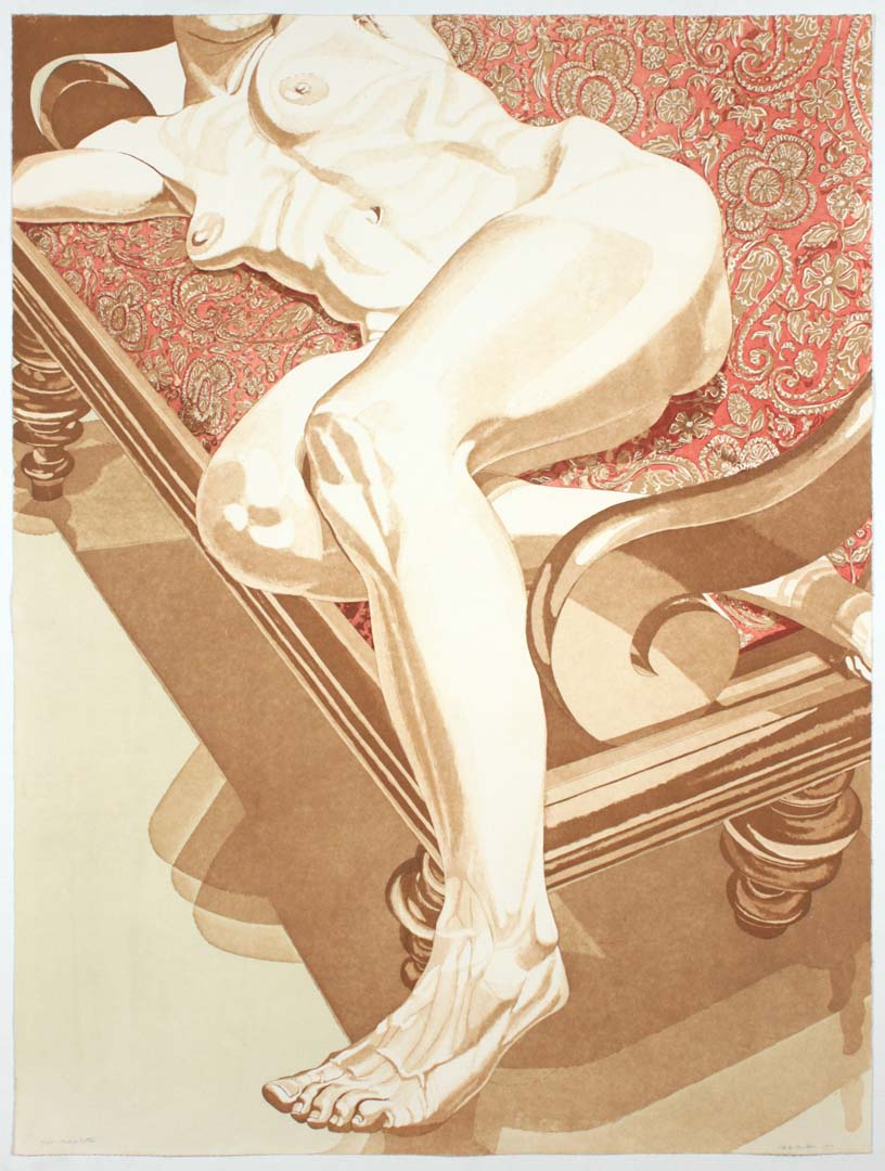 "1978 Nude on Settee Aquatint Etching on Paper 40.5"" x 30.25"""