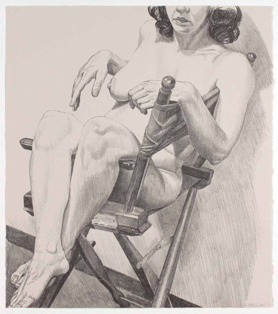 """1978 Nude on a Directors Chair Lithograph on Paper 19.625"""" x 17.25"""""""