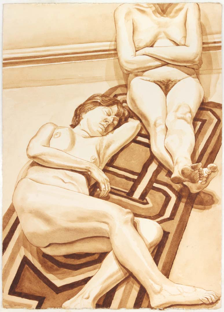 "1978 Seated and Reclining Female Nudes on Rug Sepia Wash 41"" x 29.25"""