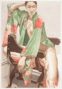 "1979 Model in Green Kimono Aquatint Etching on Paper 40"" x 27.25"""