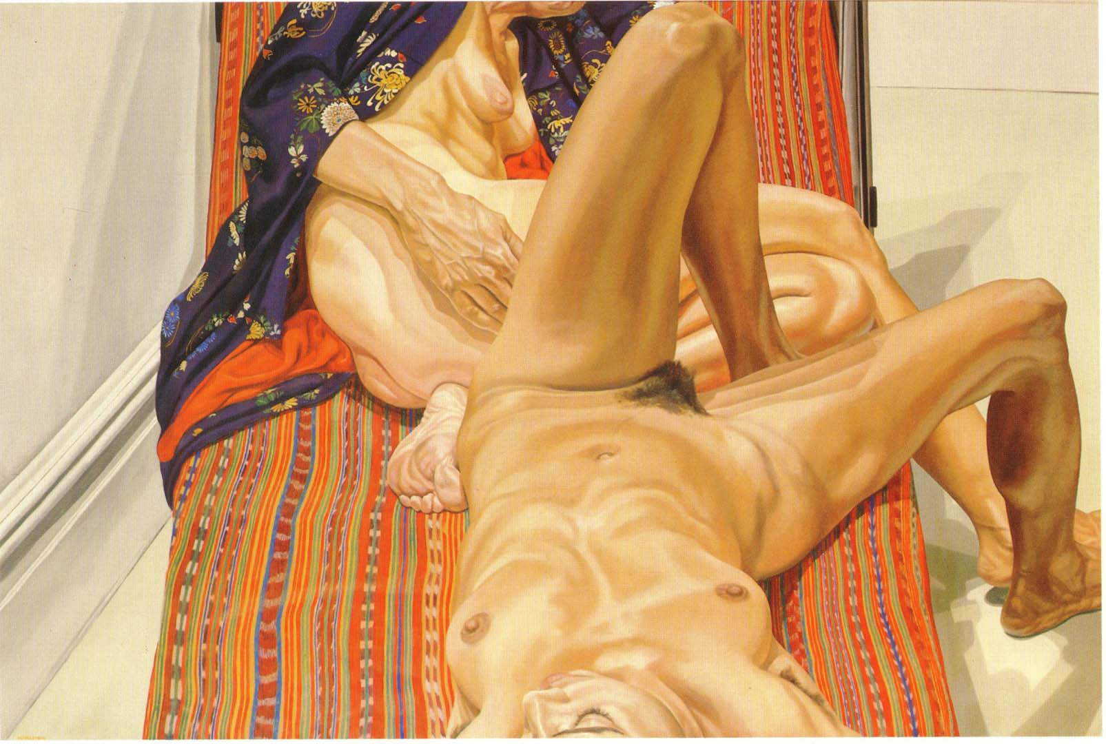 "1980 Two Female Models on Peruvian Drape Oil on Canvas 48"" x 72"""