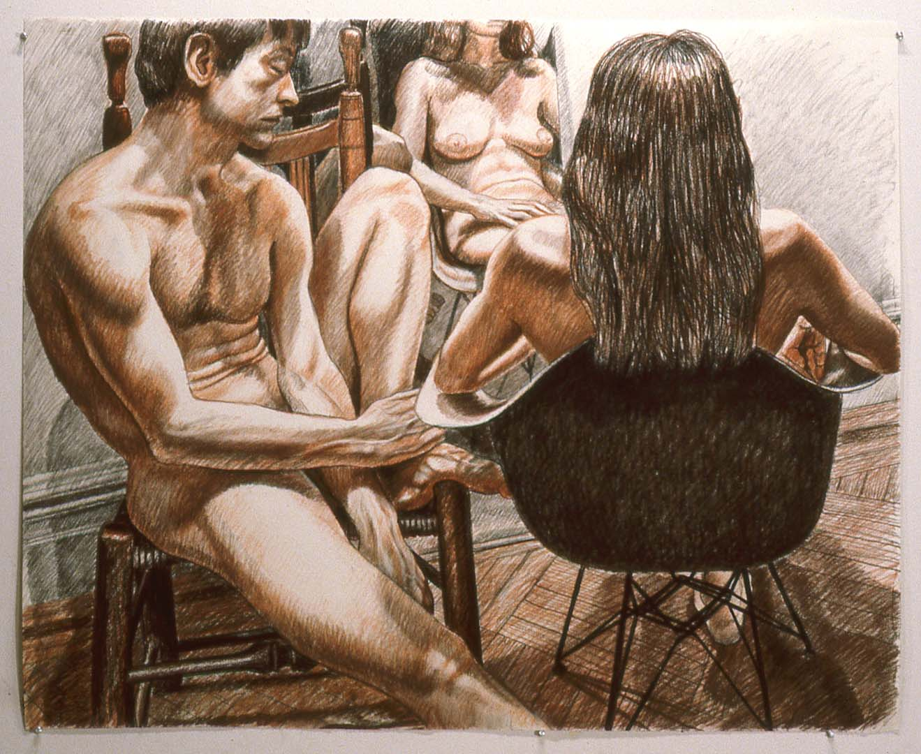 1981 Male and Female Models Conte Crayon 41 x 51.5