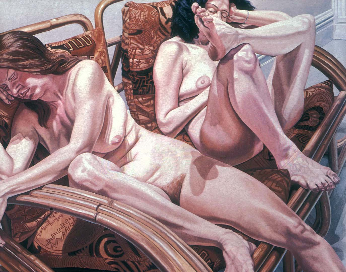 "1981 Two Models in Bamboo Chairs Oil on Canvas 60"" x 72"""