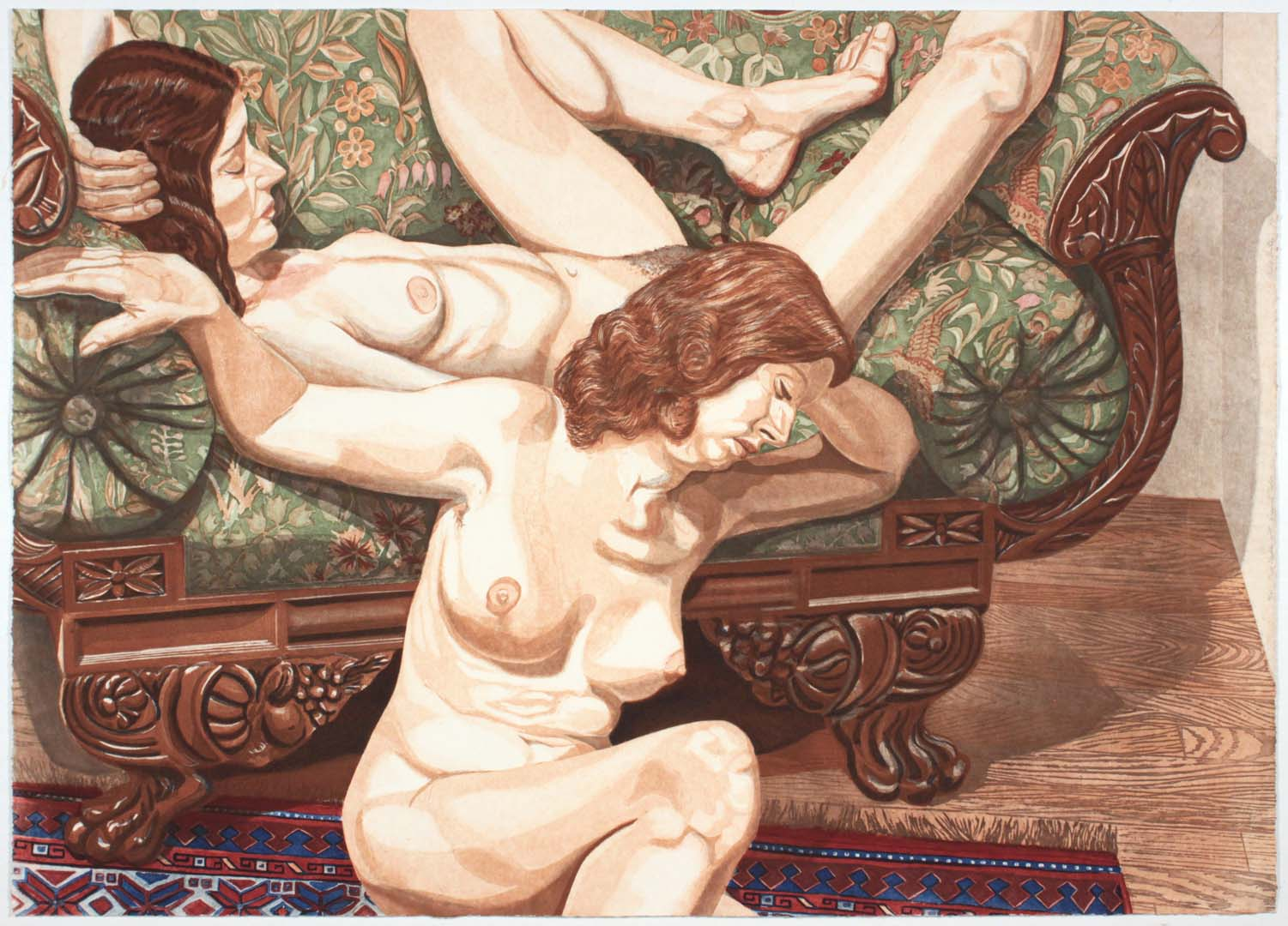 "1981 Two Nudes with Federal Sofa Aquatint Etching on Paper 29"" x 40.25"""