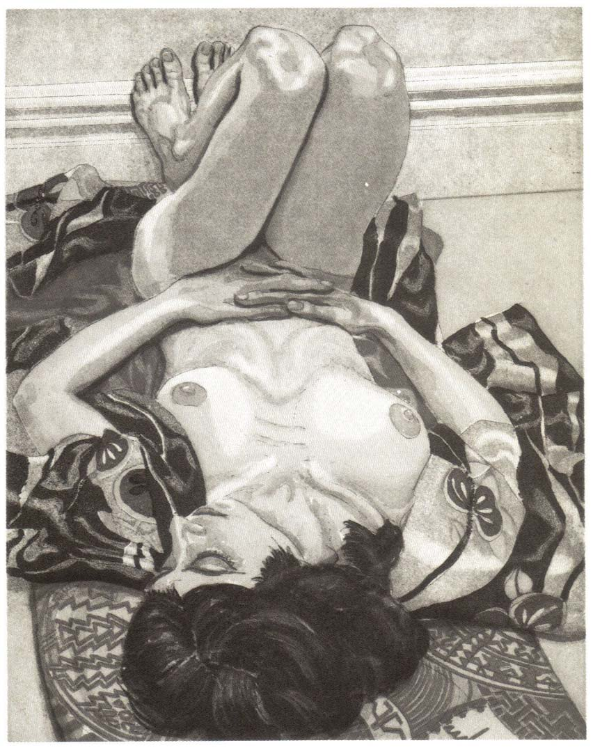 "1982 Reclining Nude with Kimono Aquatint Etching on Paper 10"" x 8"""
