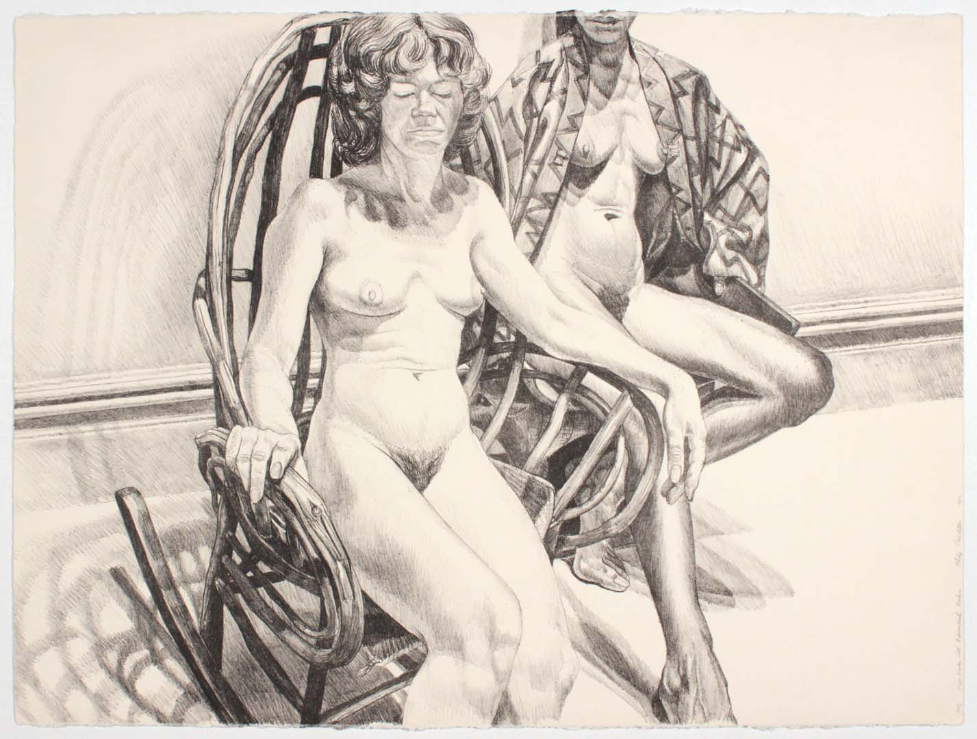 "1982 Two Nudes with Adirondack Rocker Lithograph on Paper 22.25"" x 30"""