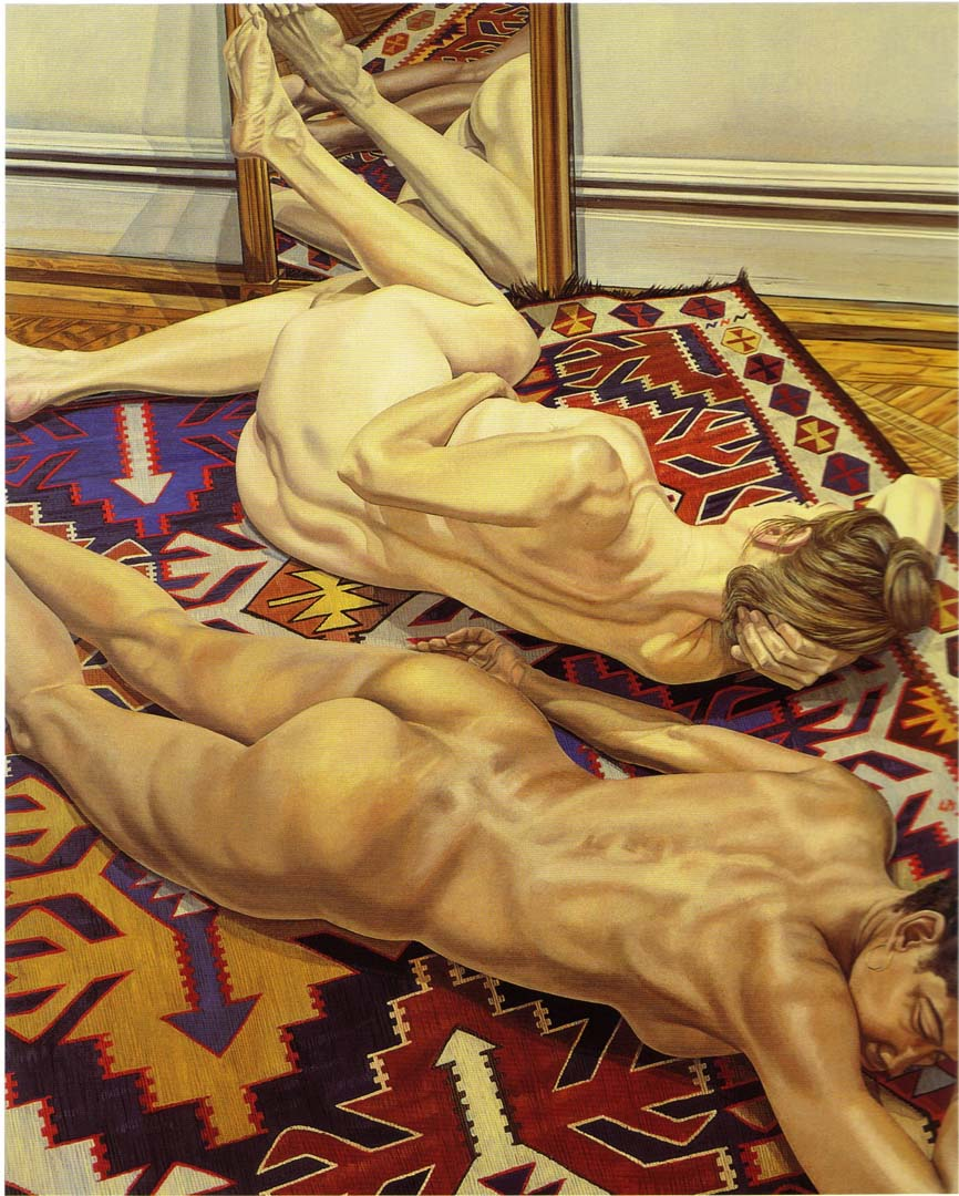 "1983 Two Models on Kilm Rug with Mirror Oil on Canvas 90"" x 72"""