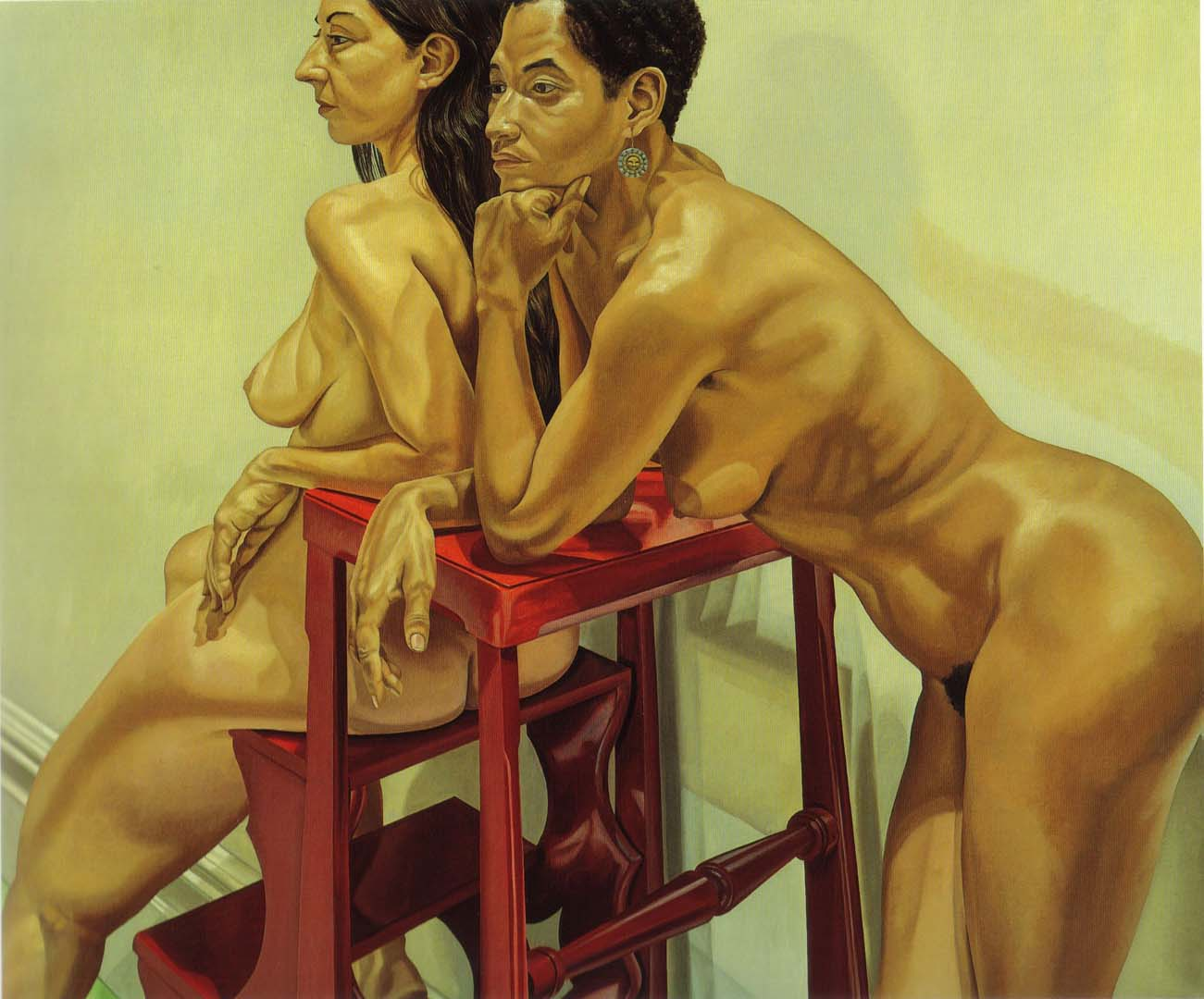 1983 Two Models with Ladder Oil on Canvas 60 x 72
