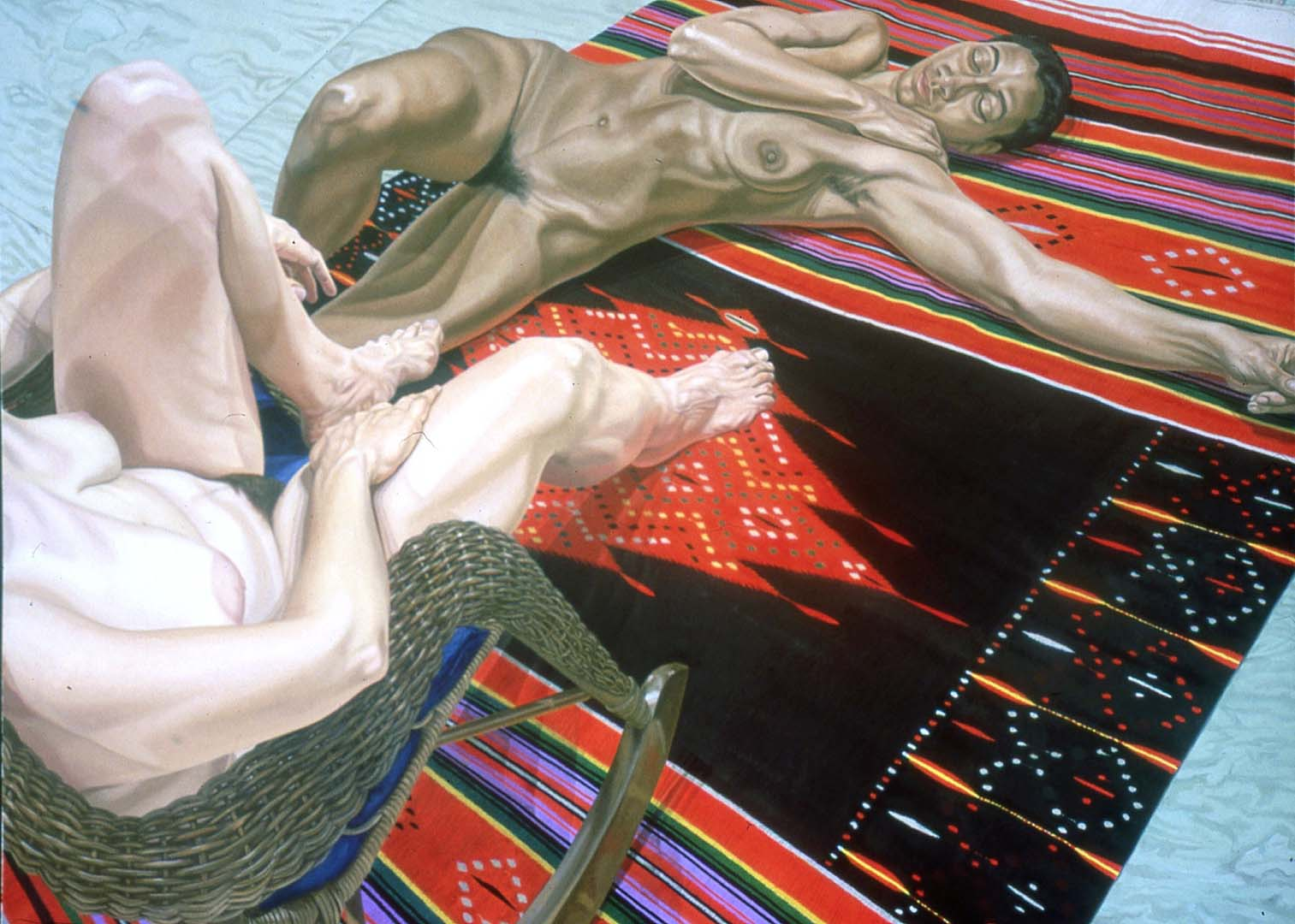 """1983 Two Models with Wicker Rocker and Mexican Blanket Oil on Canvas 72"""" x 96"""""""