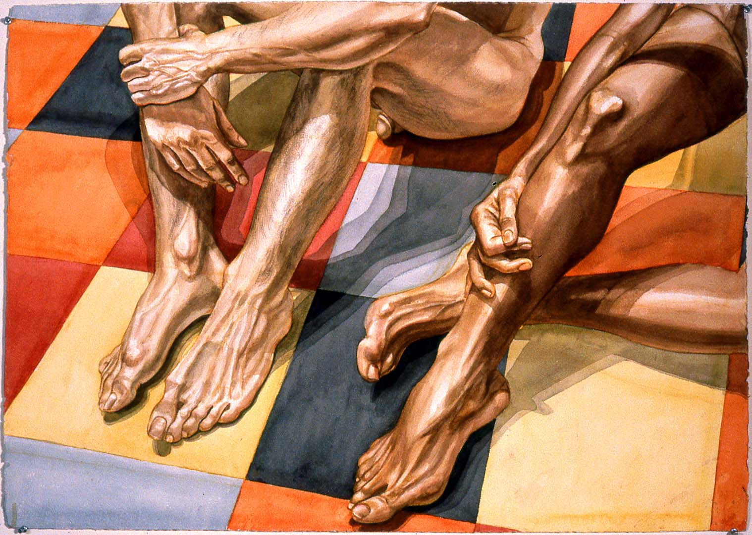 "1984 Legs and Linoleum Watercolor on Paper 29"" x 41"""