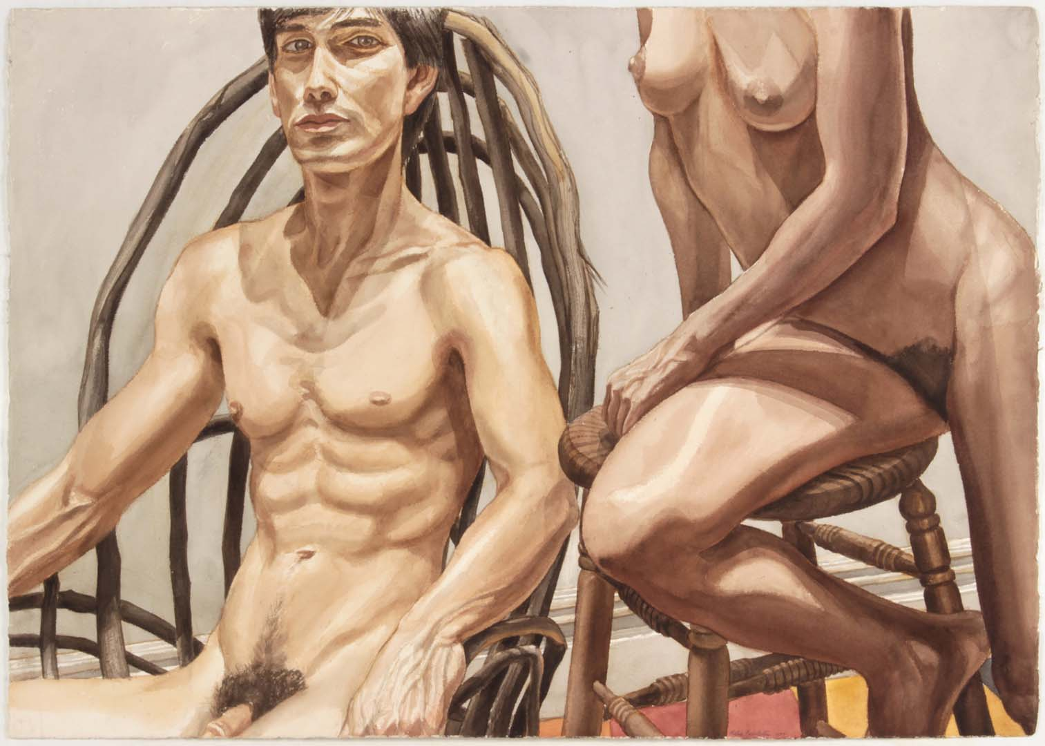 "1984 Male and Female Models Adirondack Rocker and Oak Stool Watercolor on Paper 29.25"" x 41.5"""