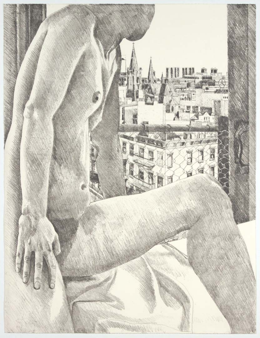 "1985 Model & View of 9th Avenue Aquatint Etching on Paper 30"" x 22.5"""