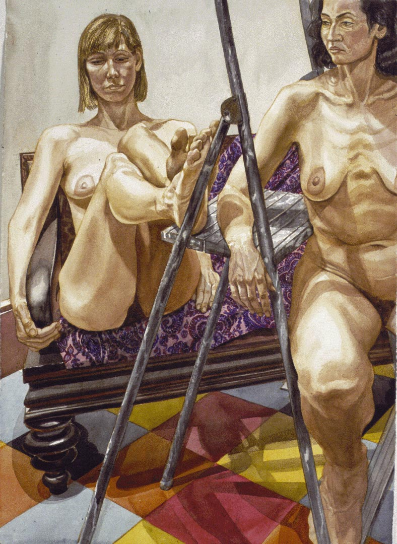 1985 Two Nudes with Aluminum Ladder Watercolor on Paper 41 x 29