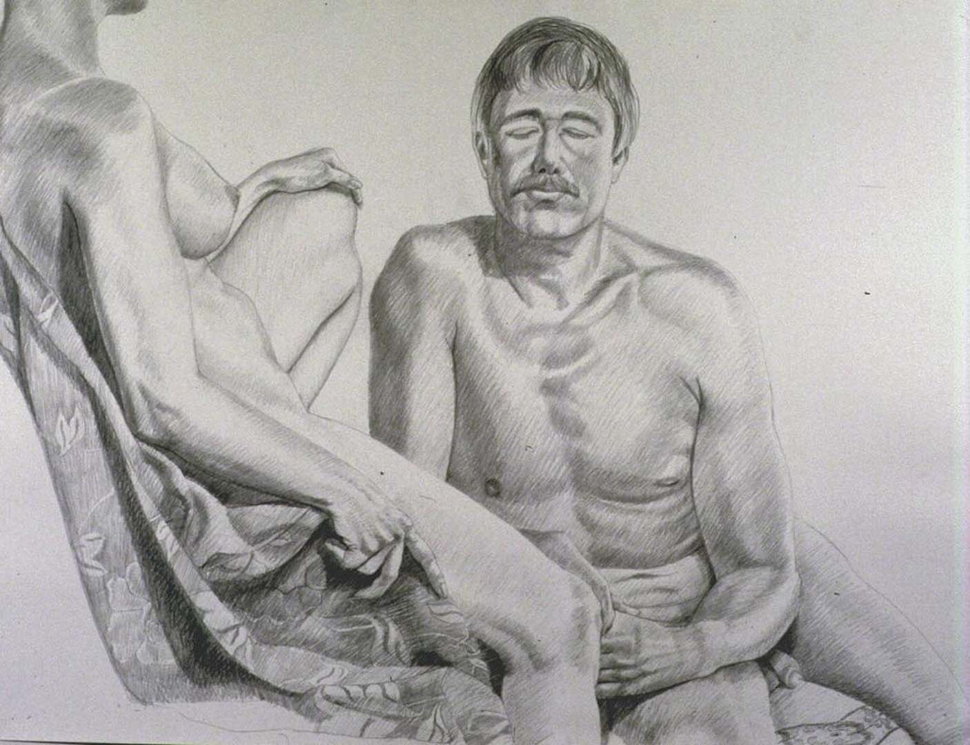 1986 Female Model Reclining Male Model Facing Front Pencil 30 x 40