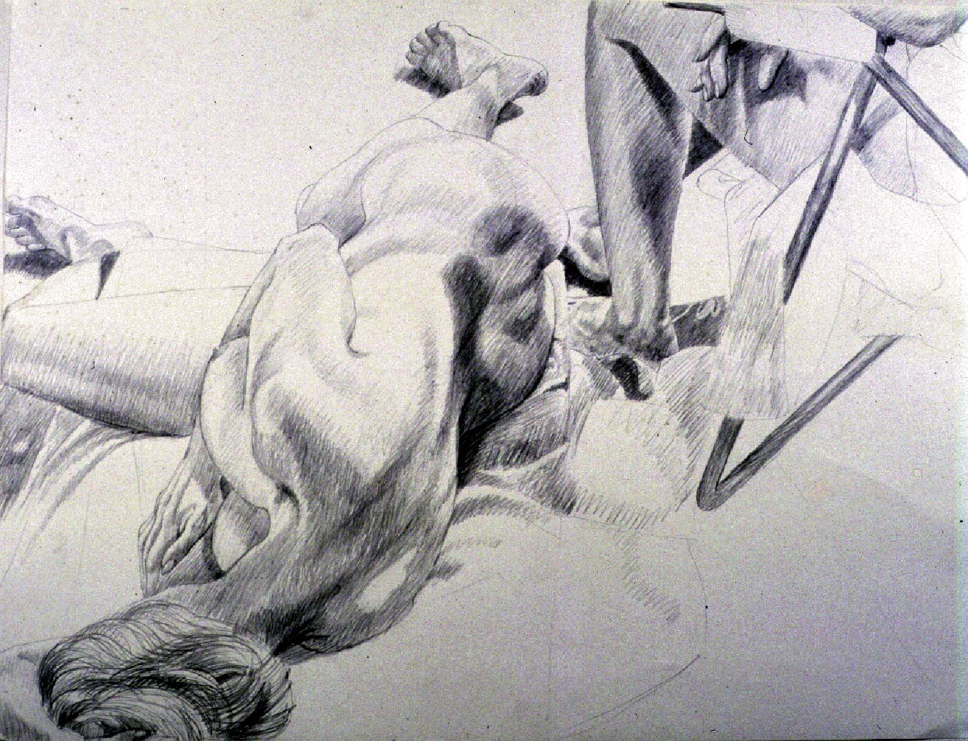 "1986 Female Model Reclining with Leg of Other Pencil 30"" x 40"""