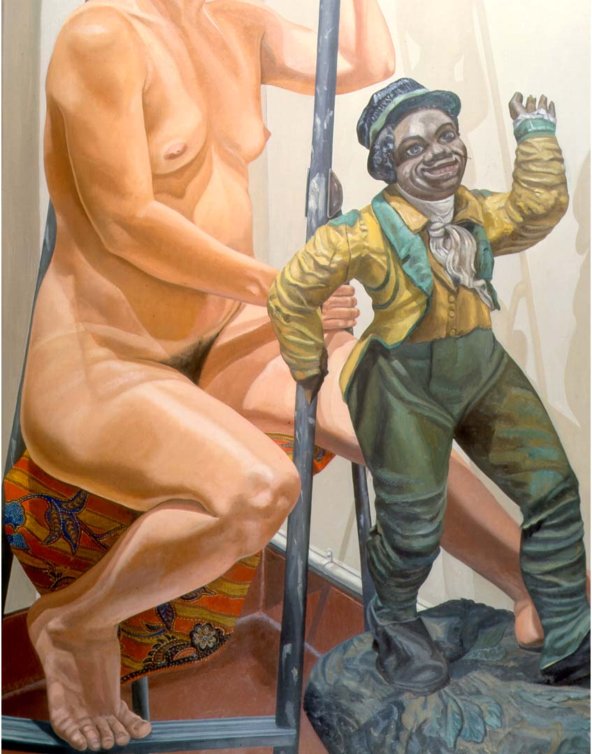 "1986 Model on Ladder with Minstrel Figures Oil on Canvas 60"" x 48"""