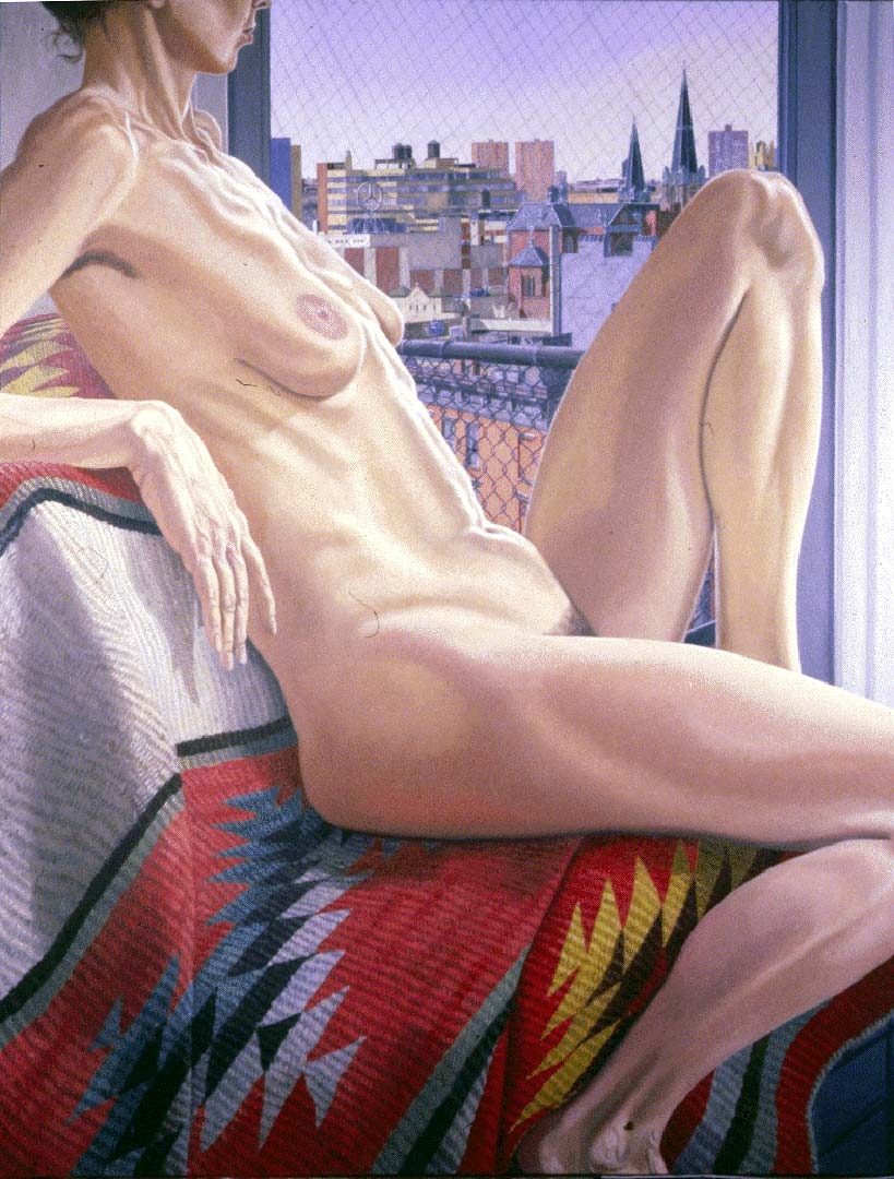 1986 Nude with Midtown View and Navajo Rug Oil on Canvas Dimensions Unknown