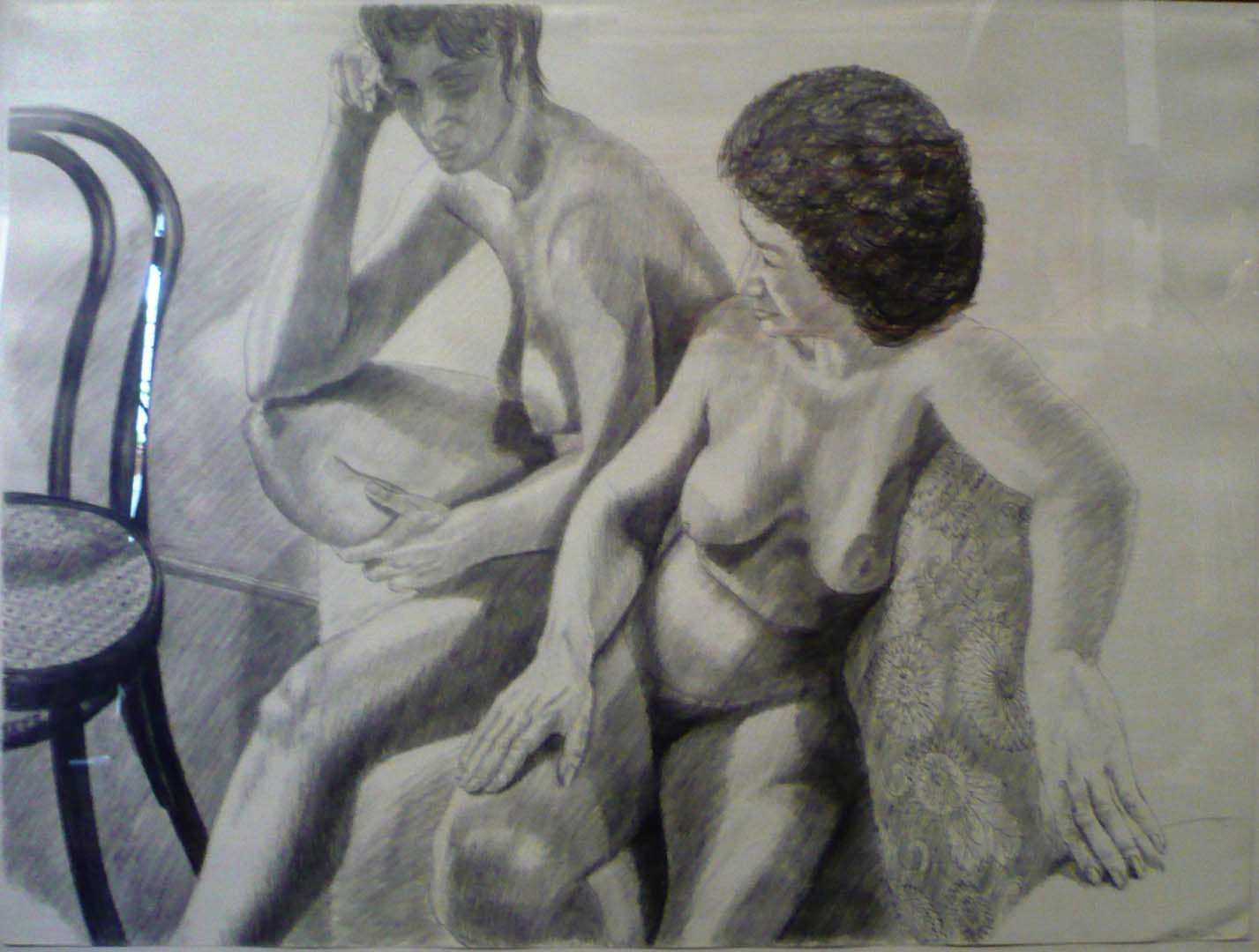 "1986 Two Models on Steps with Bentwood Chair Pencil 30"" x 40"""